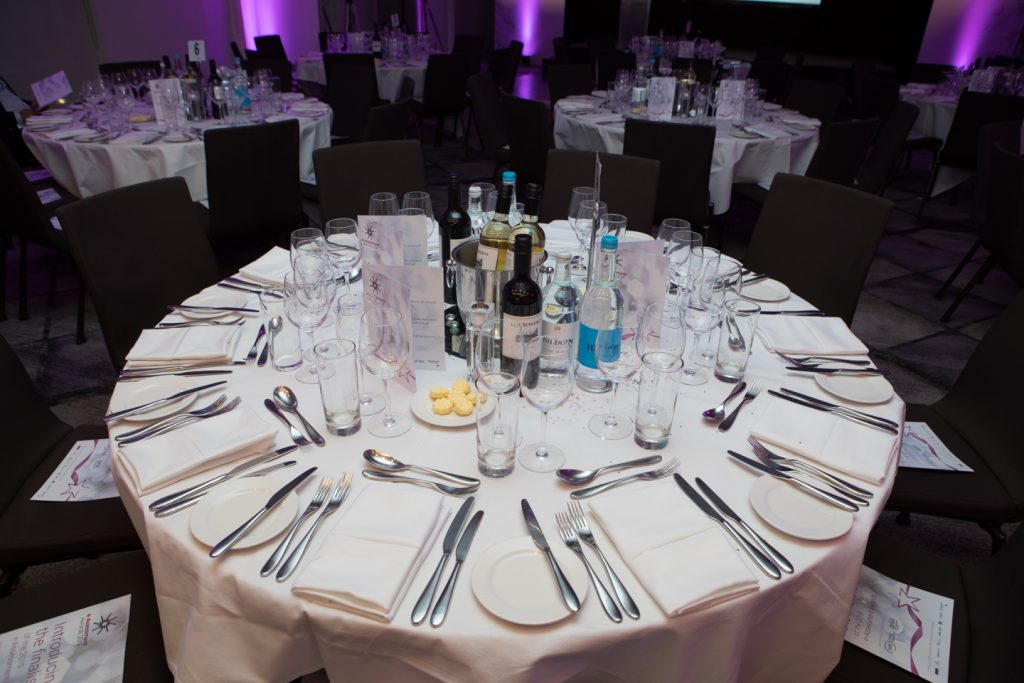 table set ready for Gala Dinner 2019