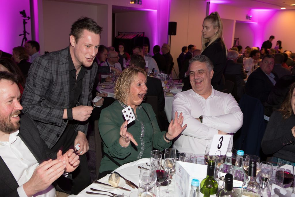 Stephen Simmons doing magic at Gala Dinner 2019