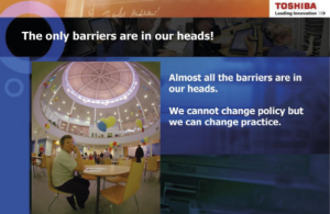 """Bob Harrison's slide: """"The only barriers are in our heads!"""""""