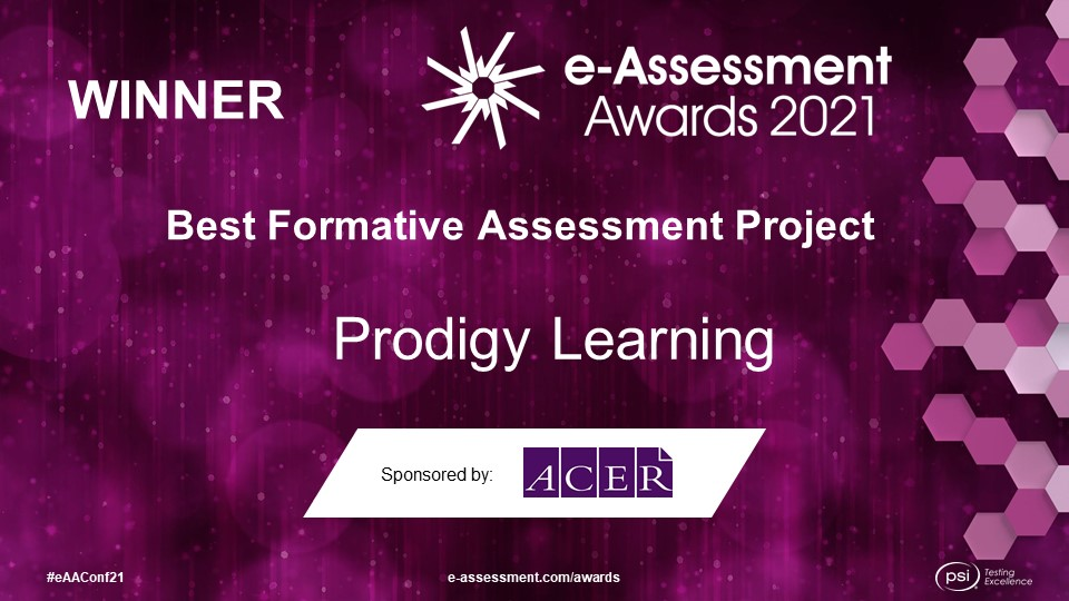 Prodigy Learning winner of the Best Formative Assessment Project at the 2021 e-Assessment Awards